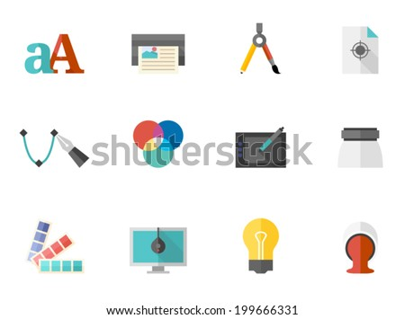 School icon series in flat colors style. - stock vector