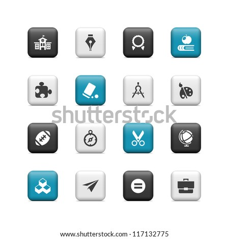 School icons 2. Buttons - stock vector