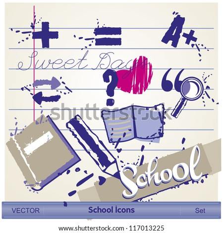 School Icons Hand-Drawn Vector Illustration Design Elements on Lined Sketchbook Paper Background - stock vector