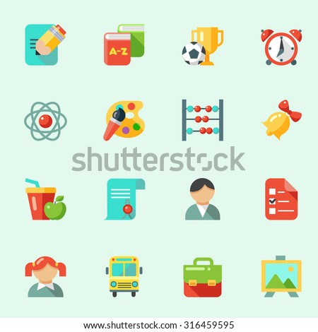 School icons in flat design - stock vector