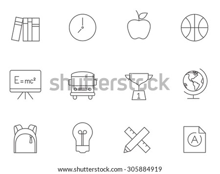 School icons in thin outlines.  - stock vector