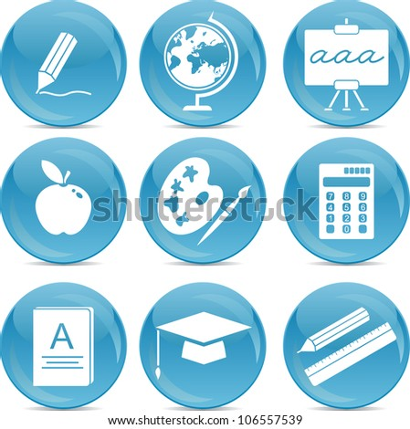 school icons on blue balls - stock vector