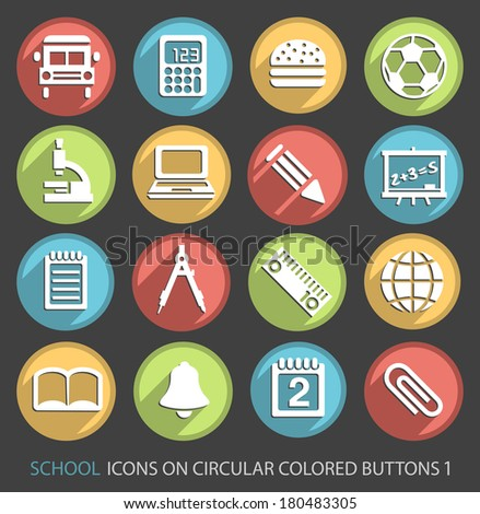 School Icons on Circular Colored Buttons 1.
