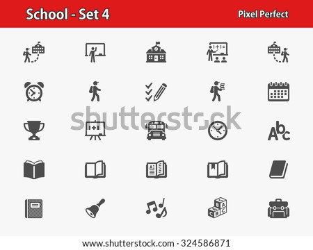 School Icons. Professional, pixel perfect icons optimized for both large and small resolutions. EPS 8 format. - stock vector