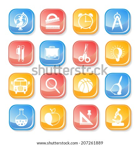 school icons set on white background - stock vector
