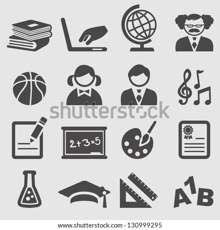 School icons set.Vector - stock vector