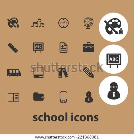 school icons set, vector - stock vector