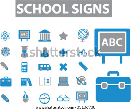 school icons, signs, vector illustrations set