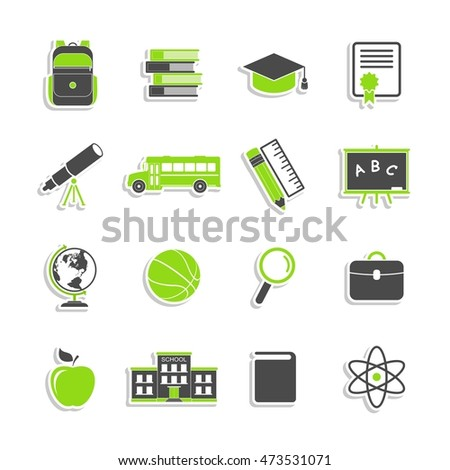 School icons stickers isolated on white background. Education collection. Back to school. College training symbols in flat style