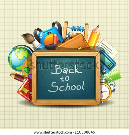 school illustration - stock vector