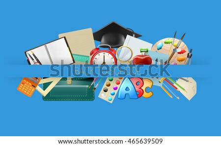 school items background, education workplace accessories. vector illustration