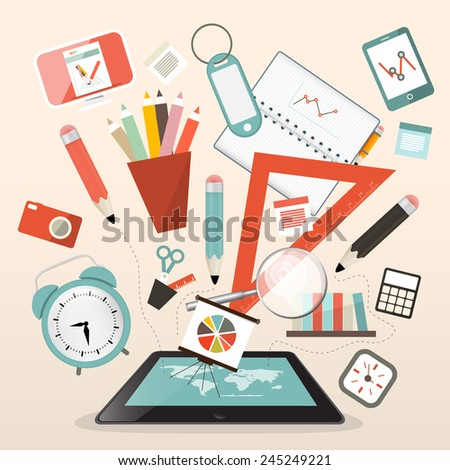 School Items - Learn and Study Management Vector Illustration - stock vector