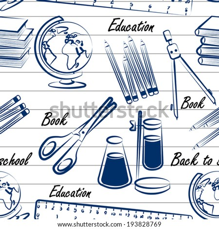 School items seamless pattern background vector ,illustration - stock vector