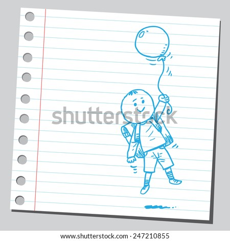 School kid fly with balloon