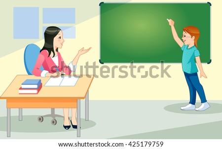 School kid in class. Teacher. Happy child against green blackboard. Education concept - stock vector