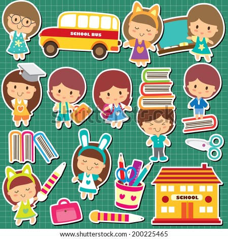 school kids clip art - stock vector