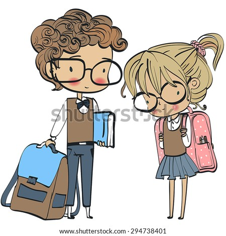 school kids - cute boy and girl - stock vector