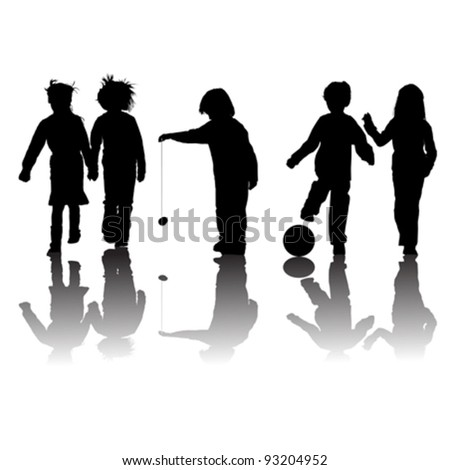 school kids friends silhouettes, girls and boys over white - stock vector