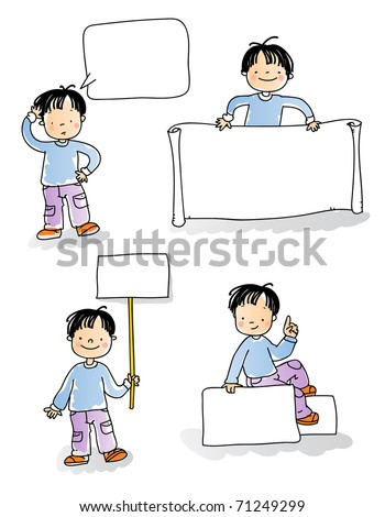 school kids holding blank sign,cartoon boy watercolor style series. grouped and layered for easy editing, see more images related - stock vector