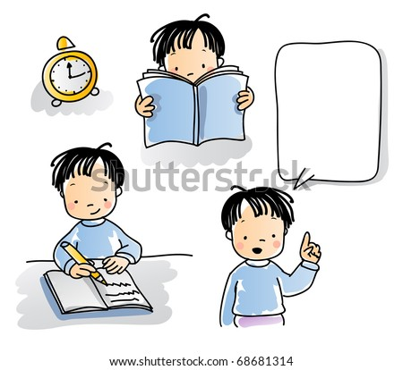 school kids series, cartoon little boy reading, writing, talking, watercolor style. grouped and layered for easy editing - stock vector