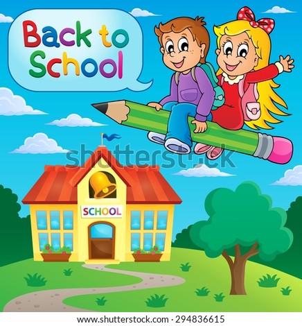 School kids theme image 9 - eps10 vector illustration. - stock vector