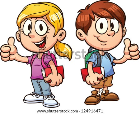 school kids vector clip art illustration stock vector 124916471 rh shutterstock com kid school clipart cute school kid clipart
