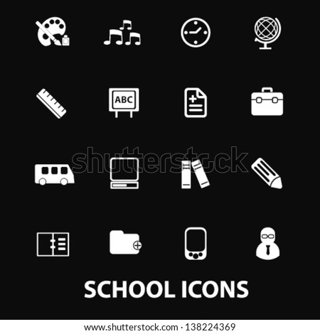 school, kindergarten, nursery school white isolated icons, signs on black background for design template, vector set - stock vector