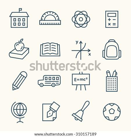 School line icons - stock vector