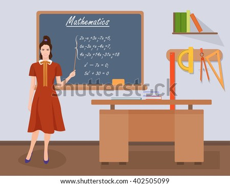 School mathematics female teacher in audience class concept. Students and teachers. Teacher image, Teacher mathematics, Teacher illustration, Teacher concept, Teacher class, Teacher classroom. - stock vector