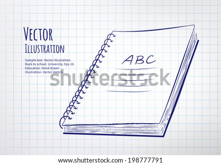 School notebook drawn on checkered paper. Vector illustration. isolated. - stock vector