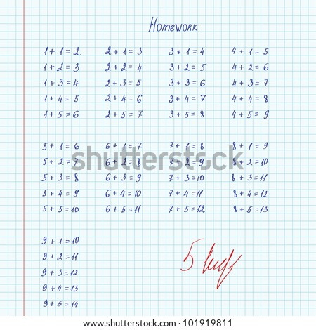 School notebook in a cage with homework in mathematics. - stock vector