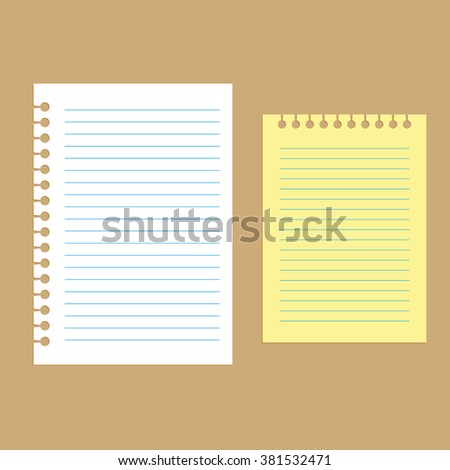 School notepaper. plain ripped holes, white and yellow, vector - stock vector