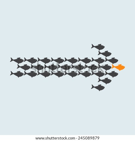 School of cute grey fish swimming in shape of arrow behind its gold fish leader isolated on light grey background. Concept of success and business achievements - stock vector