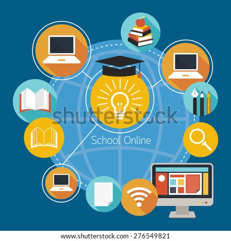School Online E-Learning Icons and Objects, Education, E-Book, Study - stock vector
