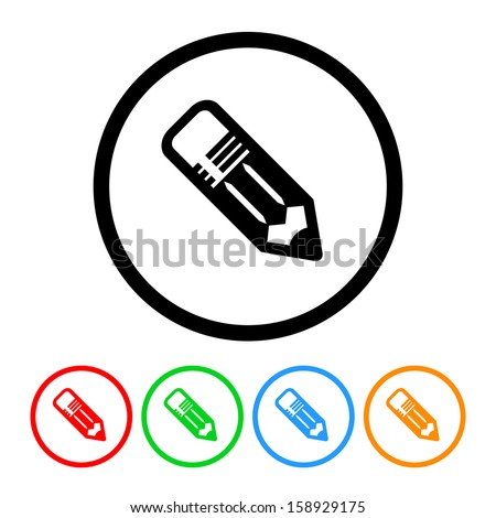 School Pencil Icon with Color Variations - stock vector