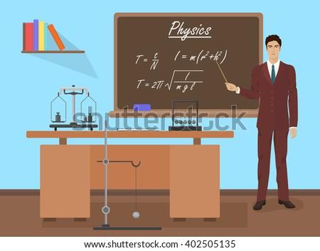 School physics teacher in audience class concept. Students and teachers. Teacher, Teacher, Teacher, Teacher, Teacher, Teacher, Teacher, Teacher, Teacher, Teacher, Teacher, Teacher. - stock vector