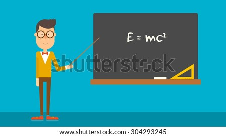 School physics teacher shows of formula on blackboard. Flat design. Vector illustration. - stock vector