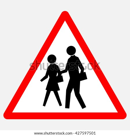 School - red triangle warning sign with black silhouettes , vector illustration - stock vector