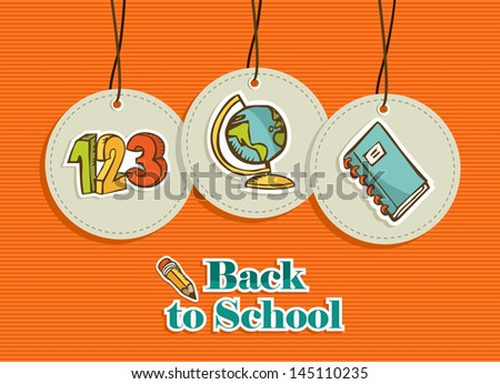School related design elements circle symbols set background.  Vector file layered for easy manipulation and custom coloring. - stock vector