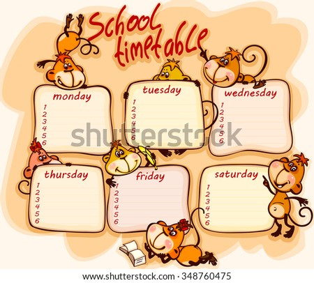 school schedule for 2016  with the  monkey - stock vector