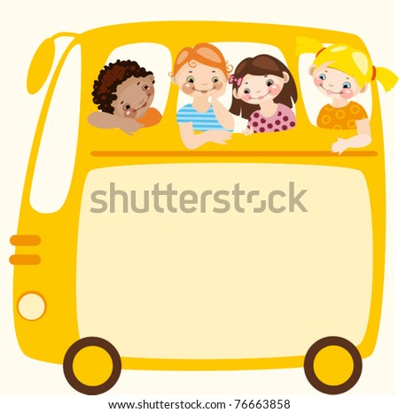 School schedule. Place for your text on a yellow school bus - stock vector