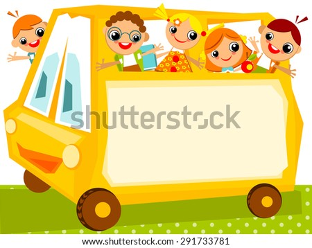 School schedule. Place for your text on a yellow school bus with happy kids
