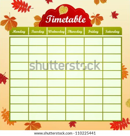 School schedule with autumn leaves - stock vector