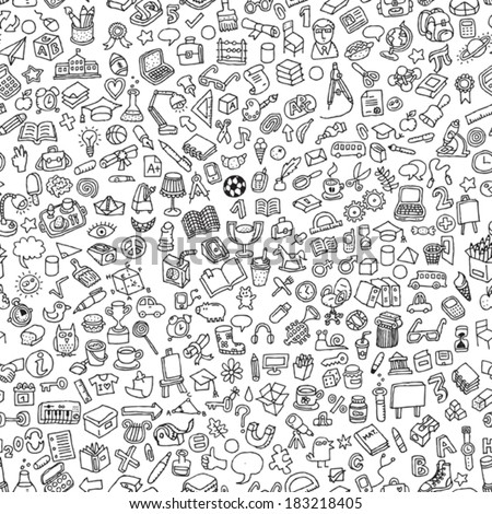 School seamless pattern in black and white (repeated) with mini doodle drawings (icons). Illustration is in eps8 vector mode. - stock vector