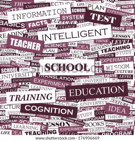 SCHOOL. Seamless pattern. Word cloud illustration. Vector illustration.  - stock vector