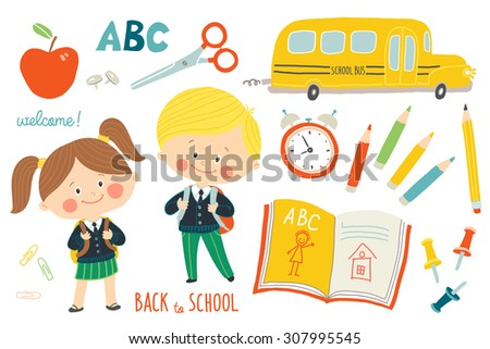 School set : characters and objects. Children in school uniforms with backpacks. School bus, school supplies. Education background. Flat style. Cartoon vector clip art illustration on white background - stock vector