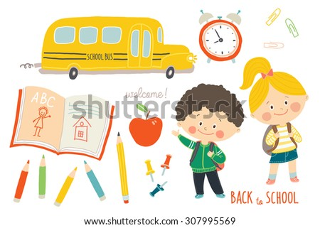 School set : funny hand drawn characters and objects. Children with backpacks. School bus, school supplies. Education background. Flat style. Cartoon vector clip art illustration on white background - stock vector