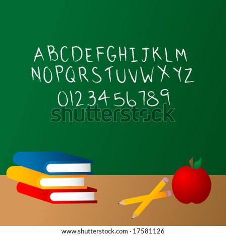 School Set with Chalkboard Alphabet - Write your own message with the letters!