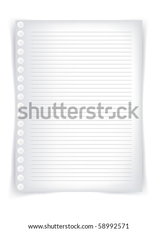 School sheet of paper, sheet of paper from a notebook - stock vector