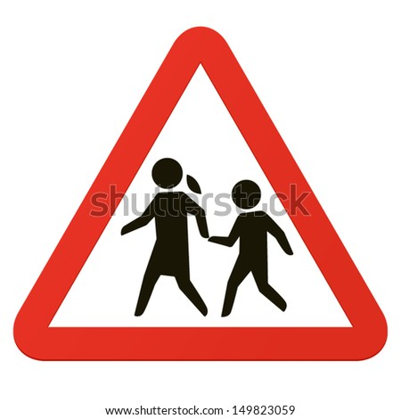 School sign, roadsign with warning for crossing children. - stock vector